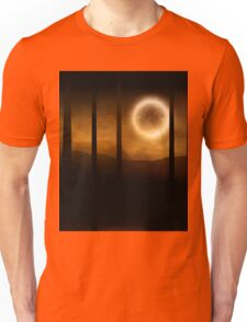 Dark forest in orange mist and full moon Unisex T-Shirt
