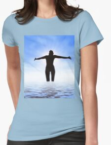 Woman in the sea Womens Fitted T-Shirt