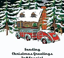 Sister And Her Boyfriend Sending Christmas Greetings Card by Gear4Gearheads