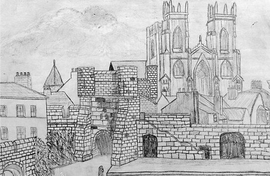My Pencil Drawing of Bootham Gate and York Minster - all products bar duvet by Dennis Melling