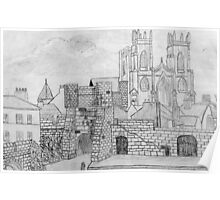 My Pencil Drawing of Bootham Gate and York Minster Poster