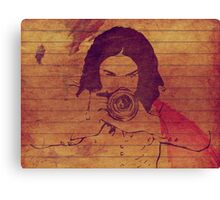 Girl photographer grunge background Canvas Print