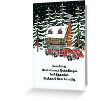 Sister And Her Family Sending Christmas Greetings Card Greeting Card