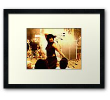 FIRE PERFORMANCE @ RAINBOW SERPENT FESTIVAL 2008 Framed Print