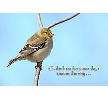 God is here for those days that end in why . . . Photographic Print