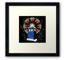 A WARM & COMFORTABLE TARDIS IN THGE SNOWSTORM  Framed Print