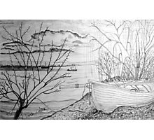 The Danube and A Boat a pencil drawing Photographic Print