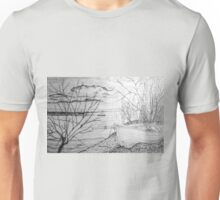 The Danube and A Boat a pencil drawing Unisex T-Shirt