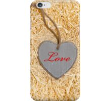 red inscribed wooden love heart in nest iPhone Case/Skin