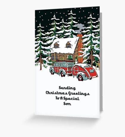 Son Sending Christmas Greetings Card Greeting Card