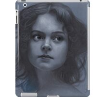 Vintage girl art - surreal drawing on blue paper iPad Case/Skin