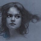 Vintage girl art - surreal drawing on blue paper by Thubakabra