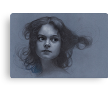Vintage girl art - surreal drawing on blue paper Canvas Print