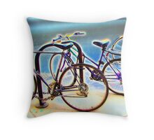 bikes at rest Throw Pillow
