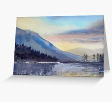 """Evening Falls on Lake Windermere"" Greeting Card"