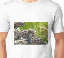 Chipmunk Peeking Out Of A Wood Pile Unisex T-Shirt