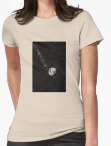 Space Moon Glow Womens Fitted T-Shirt