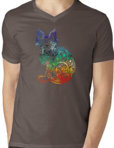 Inked Cat Mens V-Neck T-Shirt