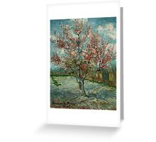 'Pink Peach Trees Souvenir de Mauve' by Vincent Van Gogh (Reproduction) Greeting Card