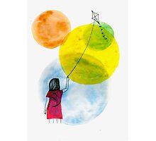 Girl Flying her Kite Photographic Print