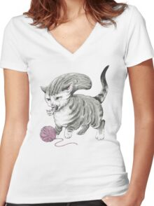 Kittehmorph Women's Fitted V-Neck T-Shirt