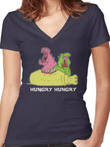 So Hungry Women's Fitted V-Neck T-Shirt