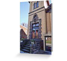Wreaths on the church door Greeting Card
