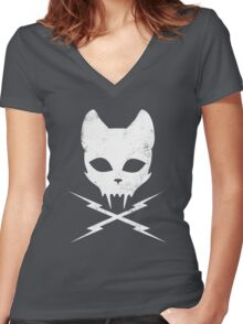 Stunt Kitty Women's Fitted V-Neck T-Shirt