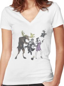 Moose and Squirrel Fight Crime Women's Fitted V-Neck T-Shirt
