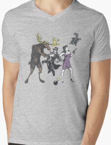 Moose and Squirrel Fight Crime Mens V-Neck T-Shirt