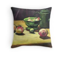 The Green Collander, oil painting on board. Throw Pillow