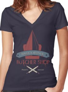 The Silent Butcher Women's Fitted V-Neck T-Shirt
