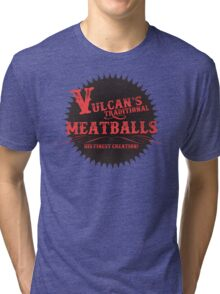 Vulcan's Traditional Meatballs - BLACK Tri-blend T-Shirt