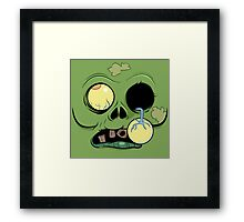 Zombie Face with eye popping out Framed Print