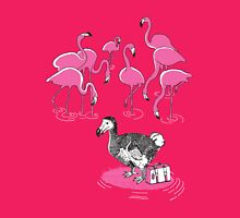 The Flamingos Celebrated When Dodo Arrived Womens Fitted T-Shirt