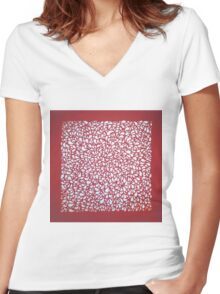 Red Fruit Paper cut Women's Fitted V-Neck T-Shirt