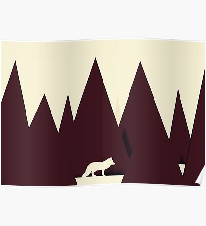 Abstract Paper Cutout Wolf  Poster