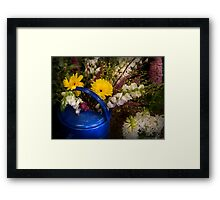 Flowers in a Blue Watering Can Framed Print