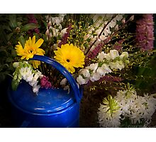 Flowers in a Blue Watering Can Photographic Print