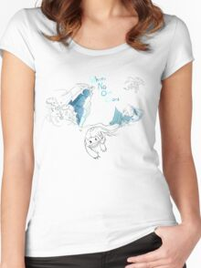 Toothless and Stitch - Where no one goes Women's Fitted Scoop T-Shirt