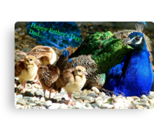 Happy Fathers Day Dad.. - Peacock & Chicks - NZ Canvas Print