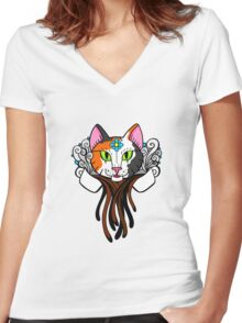 Coffee Cat - Calico Women's Fitted V-Neck T-Shirt