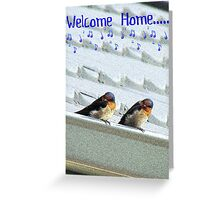 Welcome Home Greeting Card - Welcome Swallows - NZ Greeting Card