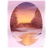 Woods and River Sunset 2 Poster