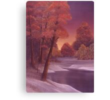 Snow and River Sunset 1 Canvas Print