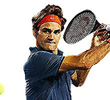 Roger Federer in action by Barnsey