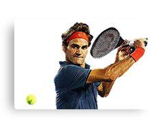Roger Federer in action Canvas Print
