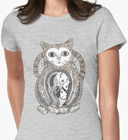 Contented Cat Tee Womens Fitted T-Shirt