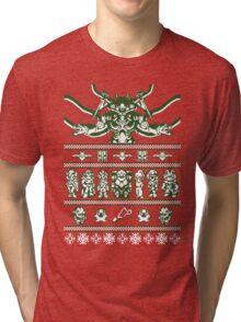 Chrono Christmas Sweater Tri-blend T-Shirt