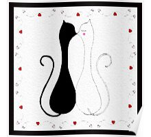 Valentine Kissing Cats Poster